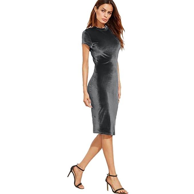 Vestidos para mujer, Vovotrade Mujeres de manga corta de terciopelo stretch bodycon partido vestido (