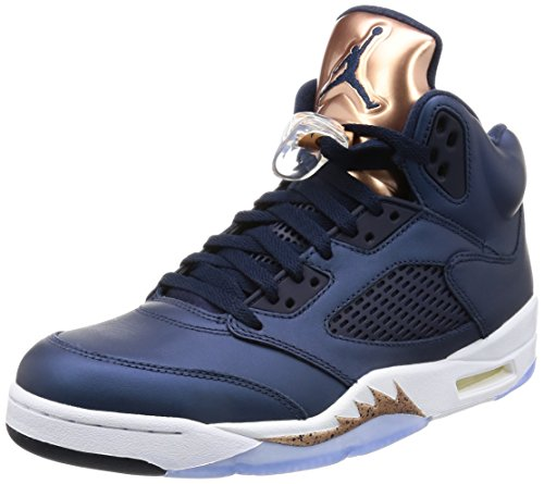 Nike Jordan Men's Air Jordan 5 Retro Obsdn/White Mtlc Rd Brnz Brght Basketball Shoe 10.5 Men US