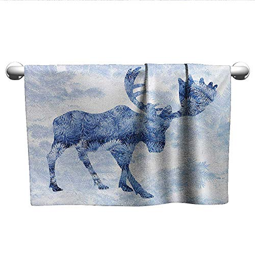 Bensonsve Baby Bath Towel Moose,Blue Pattern Pine Needles Spruce Tree with Antlers Deer Family Snow Winter Horns,Blue White,Hooded Towel for Baby Girl