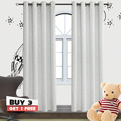 Romantic Starry Sky Creative Blackout Window Curtains for Kids Room/girls room/boys room Space Inspired Night Sky Twinkle Star Kid's Room Draperies by Alice Brown W52 x L84-Inch 2 Panels GreyishWhite - Furniture White Panel