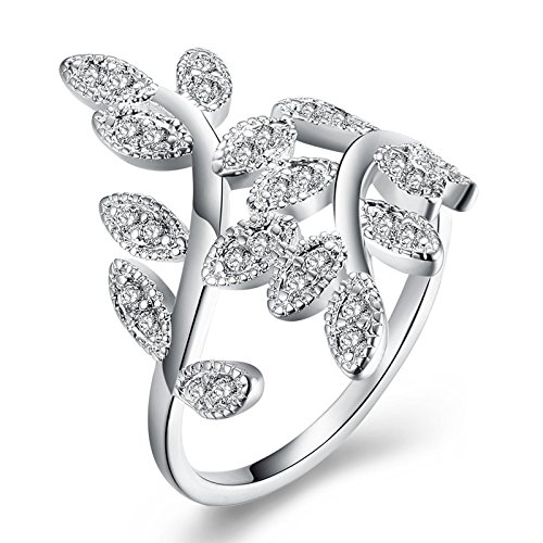 Epinki White Gold Plated Women Silver Cubic Zirconia Leaf Olive Branch Bridal Wedding Band Ring Size - Branch Brands Outlet