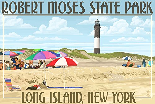 Robert Moses State Park, Long Island, New York (9x12 Collectible Art Print, Wall Decor Travel Poster) (Island Ny Long Beach)