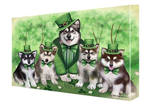 St. Patricks Day Irish Family Portrait Alaskan Malamute Dogs Canvas Wall Art CVS49233 (36x48)