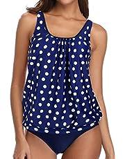 Yonique Women 2 Piece Tankini Swimsuit Floral Bathing Suit Top Plus Size Blouson Swimwear