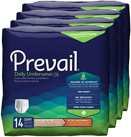 Prevail Extra Absorbency Incontinence Underwear Extra Large 56 Total Count Breathable Rapid Absorption Discreet Comfort Fit Adult Diapers