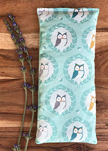 Heating Pad Flax Seed and Dried Lavender Owl Lover Gift by Whiffy Bean Bags