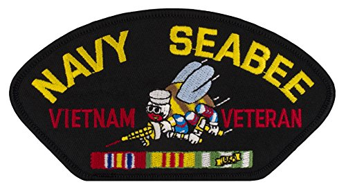 US Navy Seabee - Vietnam War Veteran Iron-on Embroidered Patch 5 1/4