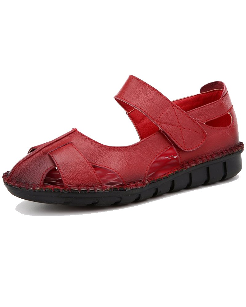 Duberess Women's Casual Leather Comfort Flat Mary Jane Sandals Ladies Summer Shoes B07DCMGS8H 6.5 B(M) US|Red