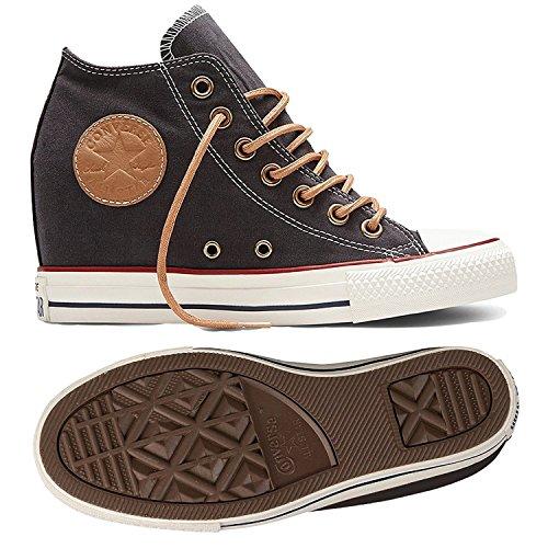 Converse Femmes Lux Mi-haut Coin Chaussures De Skateboard Presque Noir / Biscuit / Aigrette