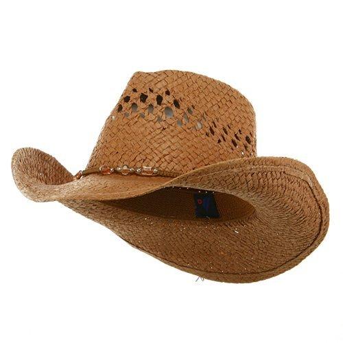 MG Womens Straw Outback Toyo Cowboy Hat, Brown (Hats Straw Cowboy Womens)