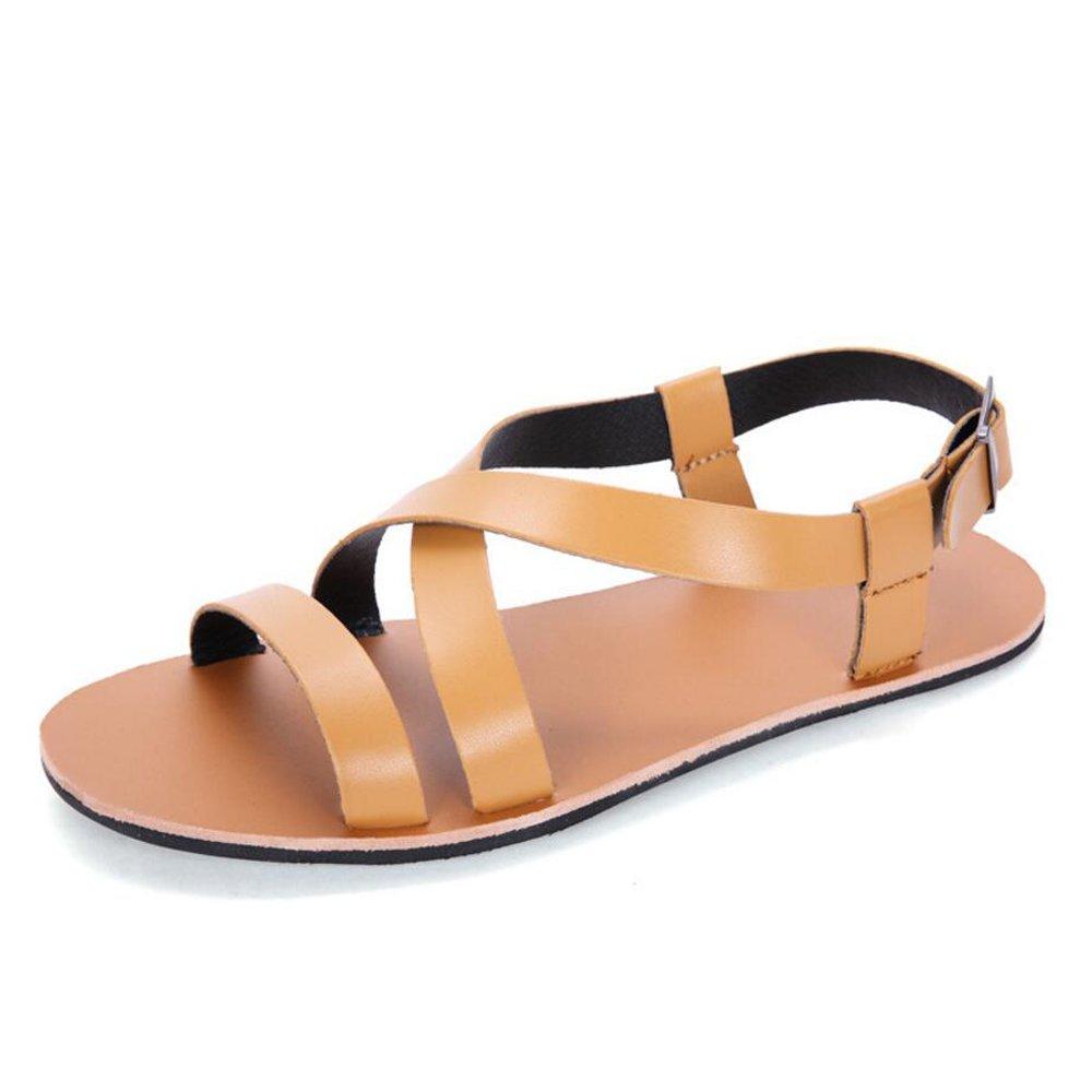 GAOLIXIA Sommer Sandalen Leder Männer Casual Sandalen und Hausschuhe Herren Strand Schuhe schwarz weiß braun (Farbe   braun, Größe   40)