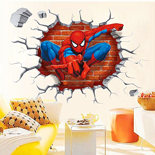 NOMSOCR 3D Wall Stickers, Vinyl Stickers DIY Family Decor Wall Art for Kids Living Room Bedroom Bathroom Tile Office Home Decoration (Spider Man) by NOMSOCR (Image #3)