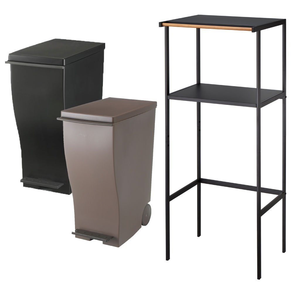 【3点セット】ゴミ箱上ラック tower ブラック + kcud スリムペダル 30 2点セット ゴミ箱 ごみ箱 ダストボックス レンジ台 ゴミ箱ラック (ブラック×オールブラウン) B072J58C8Y ブラック×オールブラウン ブラック×オールブラウン