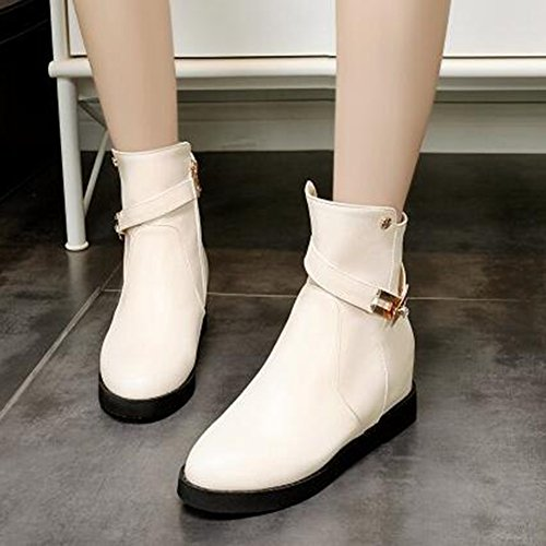 Heel Trendy Beige Toe Women's Round Top Buckle Mid Strap High Zipper Hidden Aisun Boots xPq4FBwF