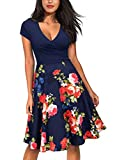 Miusol Women's Casual Flare Floral Contrast Evening Party Mini Dress (Small, K-Blue&Red)