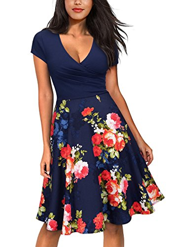 Evening amp;red Mini Floral blue Dress Miusol Flare Women's Casual Contrast Party K 1Ax4qwX