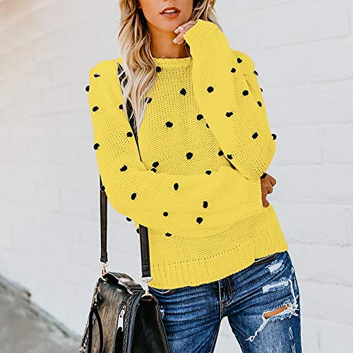 Youngh New Womens Sweatshirt Solid Dot Ball Loose Long Sleeve Casual Fashion Knitted Pullover Tops Sweater by Youngh Sweatshirt (Image #1)
