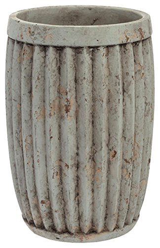 Boston International Cement Ribbed Vase, 7-Inch