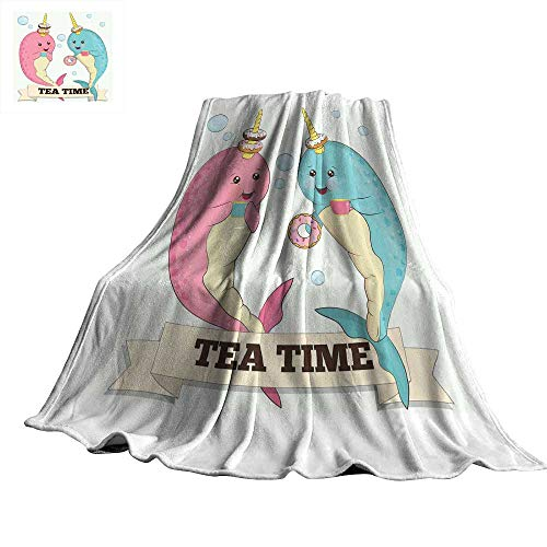 WinfreyDecor Narwhal Blanket Sheets Tea Drinking Whales Ocean Unicorn with Abstract Bubbles Backdrop 60
