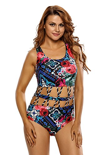 OUR WINGS Women Crisscross Detail Cutout Floral One Piece Swimsuit 51n3cPIMnwL