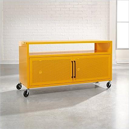Amazon Com Sauder Soft Modern Tv Cart Yellow Saffron Kitchen Dining
