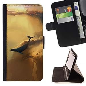 KingStore / Leather Etui en cuir / HTC One M8 / BALLENA CIELO ABSTRACTO