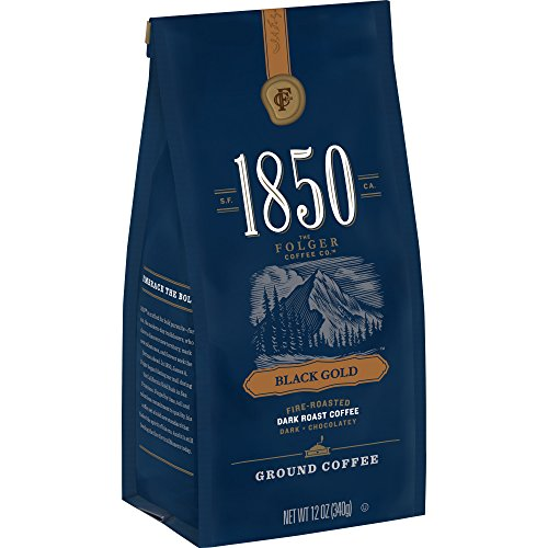 (1850 Black Gold, Dark Roast Ground Coffee, 12 Ounces, 12 Ounces (Pack of 6) )