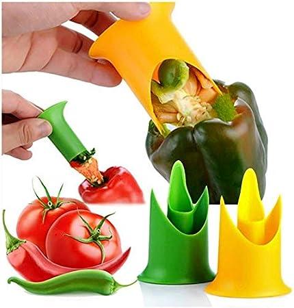 Dinapy Removedor de pimienta multifuncional, 2 piezas, cortador de pimienta, tomates, descorazonador de semillas, utensilio de cocina para extraer tomates, frutas y verduras para la familia
