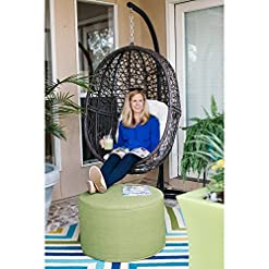 Garden and Outdoor OUTAD Resin Wicker Hanging Egg Chair Outdoor Patio Furniture with Cushion and Stand, Steel Frame, Espresso outdoor lounge furniture