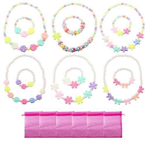 Deluxe Girls Party Favor Jewelry Collections of Necklace and Bracelet Pastel Colors( 6 Sets Per (Big Kid Candy)
