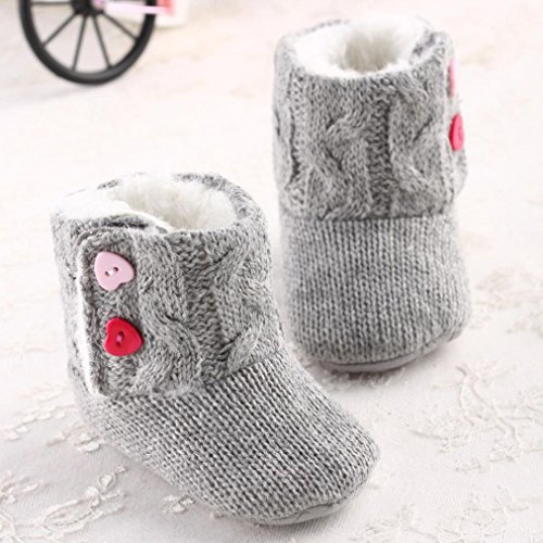 Longra Baby weiche Sohle Krippe Warm-Knopf Wohnungen Cotton Stiefel Kleinkind Prewalke Schuhe Grau