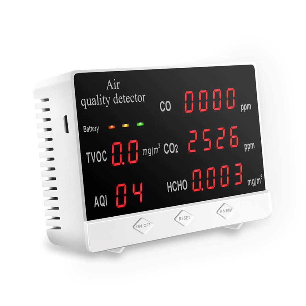 Air Quality Monitor Accurate Tester for CO2 Formaldehyde(HCHO) TVOC/AQI Multifunctional Air Gas Detector Real Time Data&Mean Value Recording for Home Office and Various Occasion