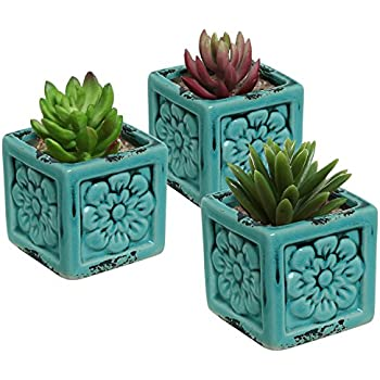 Amazon Com Rustic Style Ceramic Succulent Planters Small