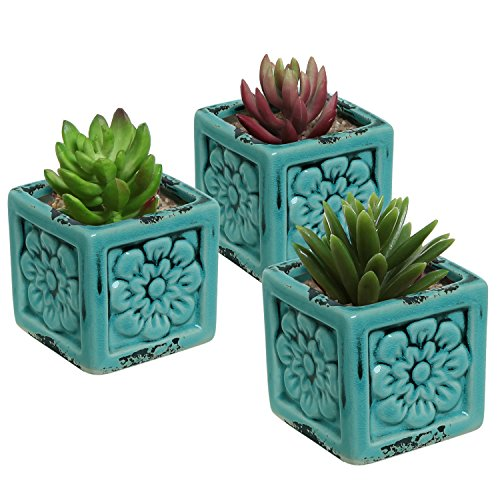 Set of 3 Rustic Style Turquoise Ceramic Floral Design Succulent Plant Pots / Mini Herb & Cacti Planters (Turquoise Office Supplies)