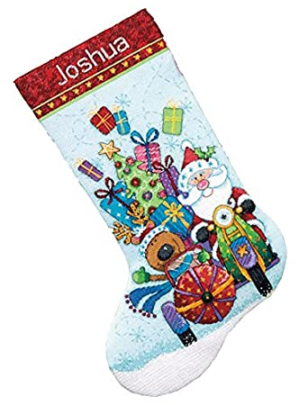 Disney Cross Stitch Christmas Stocking Patterns.Dimensions Counted Cross Stitch Santa S Sidecar Personalized Christmas Stocking Kit 14 Count Light Blue Aida 16