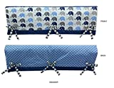 Bacati Elephants Crib Rail Guard Cover 2 Piece Small Side Set with Polyester Filling, Blue/Grey