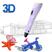 3D Printing Pen for Kids,Juboury JBY-II 3D Drawing Pen with LCD Temperature Display for Model Printing,Art Design,DIY and Crafts Drawing-Compatible with 1.75mm ABS and PLA Filament (Purple)