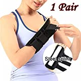 Wrist Brace, Sacow 1 Pair Steel Splint Plate Wrist Brace Support Sprain Forearm Splint Band Strap Black