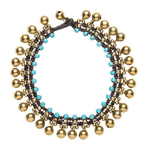 81stgeneration Women's Brass Gold Tone Simulated Turquoise Bead Ankle Anklet Bracelet, 25 cm