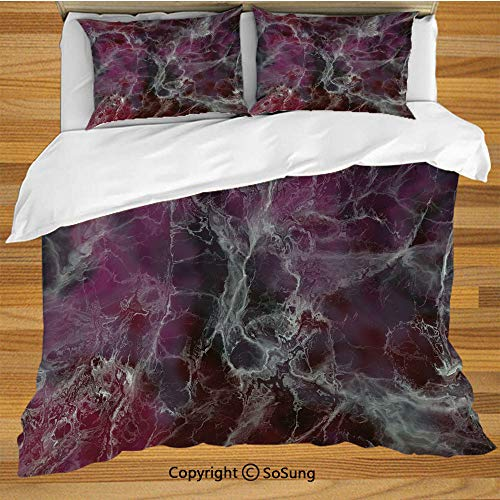 (Marble Queen Size Bedding Duvet Cover Set,Psychedelic Stylized Artistic Dark Colors Cloudy Onyx Stone Surface Print Decorative Decorative 3 Piece Bedding Set with 2 Pillow Shams,Charcoal Grey Magenta)