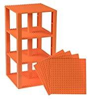 "Premium Orange Stackable Base Plates - 4 Pack 6"" x 6"" Baseplate Bundle with 30 New and Improved 2x2 Stackers - Compatible with All Major Brands - Tower Construction"