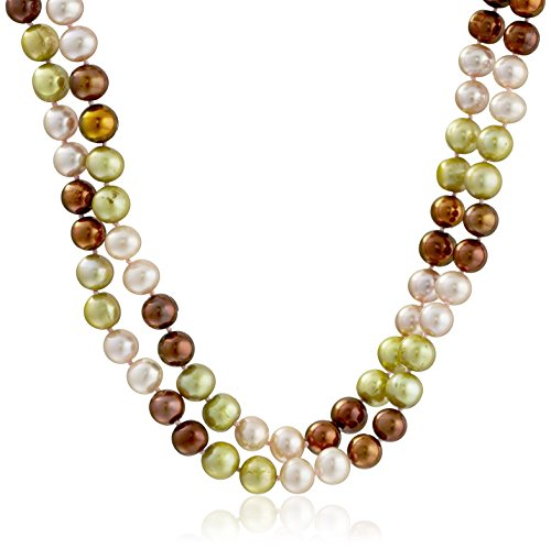 [Sterling Silver Two Rows 8-9mm Multi-Color Genuine High Luster Cultured Freshwater Pearl Strand, 17