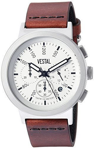 Vestal Quartz Stainless Steel and Leather Dress Watch Color:Brown (Model: SLR44CL01.CVBK) [並行輸入品] B078BXM4JR