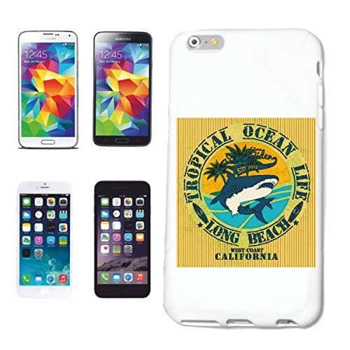 "cas de téléphone iPhone 6S ""TROPICAL OCEAN LONG BEACH SURFING BEACH SURFBOARDS WAVES LONGBOARD DE SURF Beginner Shop"" Hard Case Cover Téléphone Covers Smart Cover pour Apple iPhone en blanc"