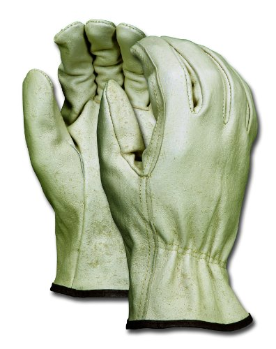 MCR Safety 3402M Grain Pigskin Driver CD Grade Economy Gloves with Straight Thumb, Cream, Men's Medium, 1-Pair -