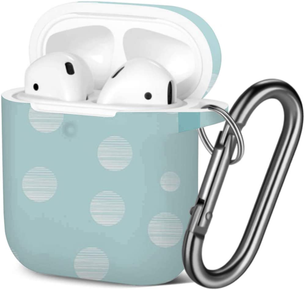Pink Polka Dot Compatible with AirPods 2 and 1 Shockproof Soft TPU Gel Case Cover with Keychain Carabiner for Apple AirPods