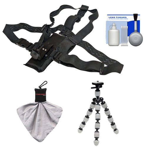 Hiking Essentials Bundle for ContourROAM2, ROAM3 & Contour+ 2 Action Camcorders with Chest Mount + Flex Tripod + Accessory Kit by Intova