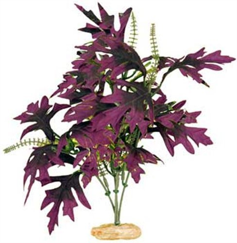(Vibran-Sea Amazon Butterfly Leaf Silk-Style Aquarium Plant, Extra-Large 18-19 tall, Plum)