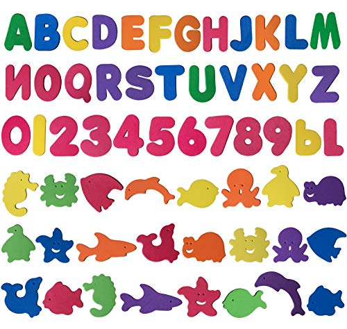 Trooer 60 Pcs Set Baby Bath Toys Foam Alphabet Letters Numbers Sea Life Toys Non Toxic Educational Toys Bath Letters Baby Bath Toys ()