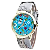 tool1 AMA(TM) Men Women Christmas Pattern Letter Print Leather Band Analog Quartz Vogue Wrist Watch (Gray)
